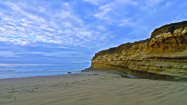 Beach Runner, Cliffs, Approaching Sunset ...