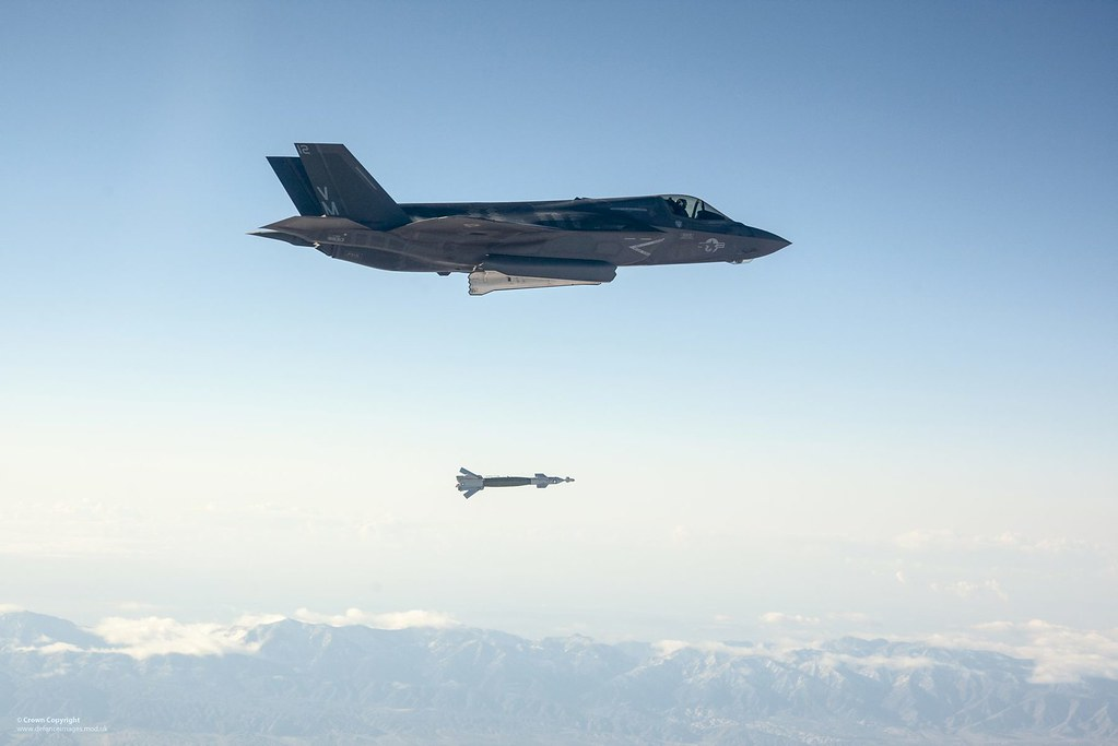 F-35 Lightning Drops a Paveway II Laser Guided Bomb