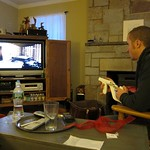 Justin's playing Modern Warfare from his rocking chair