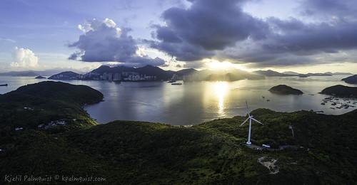 panorama windmill sunrise landscape hongkong lamma lammaisland multirotor multicopter lammawind