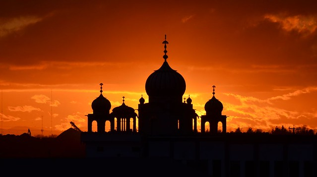Sunset Through the Nanaksar Gurwara Gursikh Temple - Richmond, British Columbia, Canada.