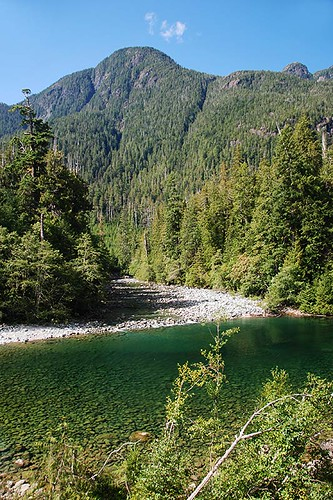 Kennedy River and Steamboat Mountain, Clayoquot Plateau Provincial Park, Pacific Rim Highway 4, Vancouver Island, British Columbia, Canada