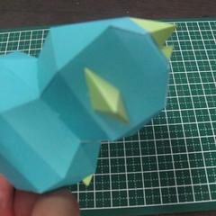 วิธีทำของเล่นโมเดลกระดาษรูปนก (Bird Paper craft ) 025