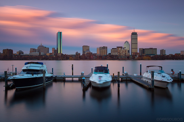 Back Bay Boston Skyline and Clouds at Sunrise over Docked Boats on Charles River, Memorial Drive Cambridge MA