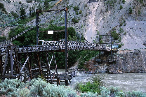 The Old Bridge across the Fraser River in Lillooet, Gold Country, Cariboo, British Columbia