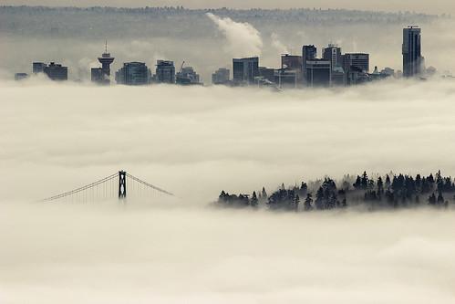park morning bridge weather fog vancouver skyscraper buildings downtown bc foggy stanley lionsgatebridge lionsgate bun vancouverbc bunlee bunleephotography