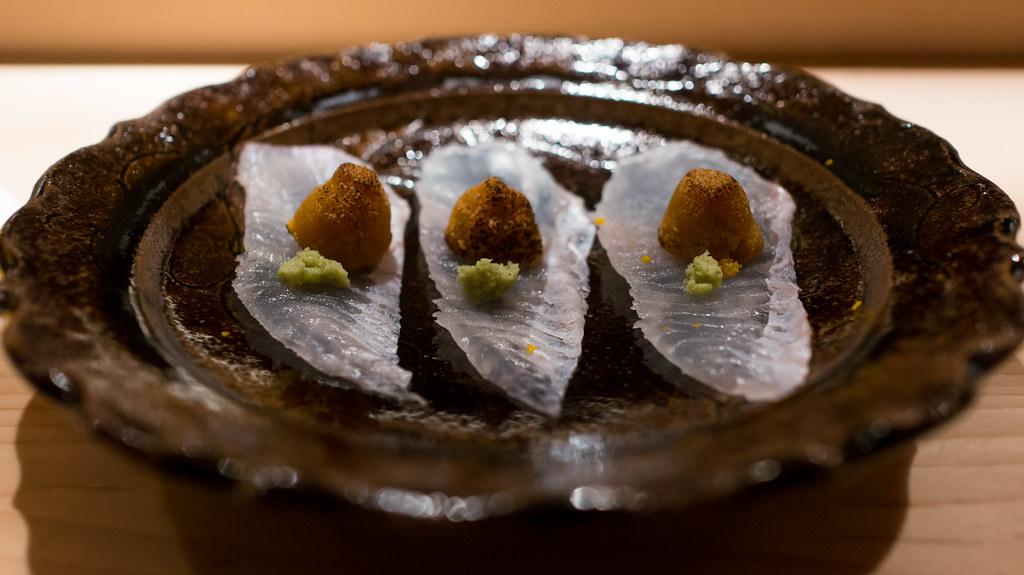 hirame sashimi with bottarga