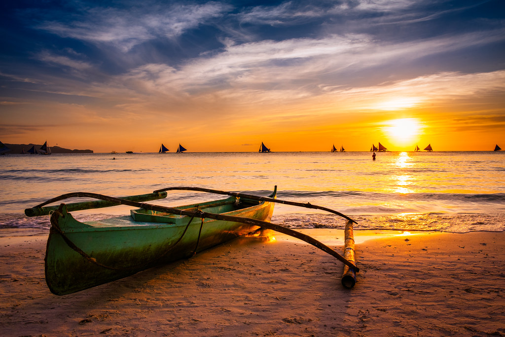 Sunset at White Beach, Boracay, Philippines