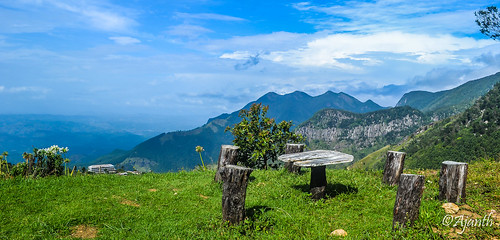 wood cloud mountain coffee field grass bench table landscape chair outdoor hill srilanka mountainside grassland uvaprovince
