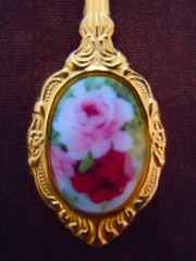 ROYAL PATRICIAN GOLD PLATED WITH ROSE INLAY SPOON