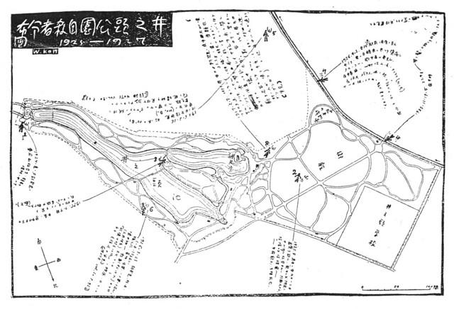 今和次郎「井の頭公園自殺場所分布図」