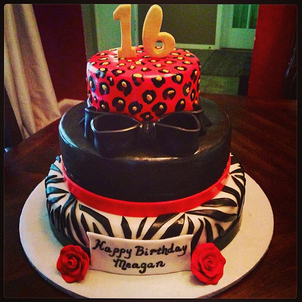 Super Sweet 16 Cake Zebra Cheetah Red Black White Gold Sw Flickr Birthday Cards Printable Giouspongecafe Filternl