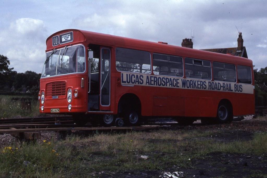 Lucas Aerospace Workers Road-Rail Bus, Bishops Lydeard, WSR 27.7.1980