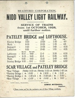 Nidd Valley Light Railway Timetable 1928 | by ian.dinmore
