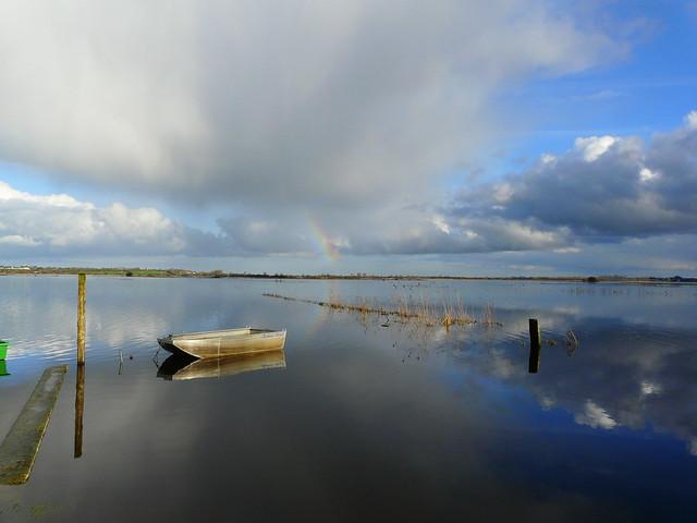 rainbow over the flooded area...