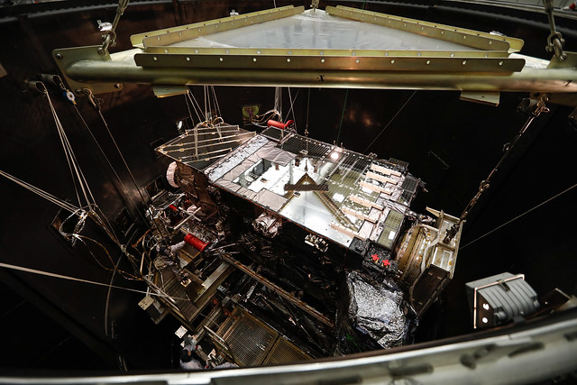 GOES-S Lowered into Thermal Vacuum Chamber
