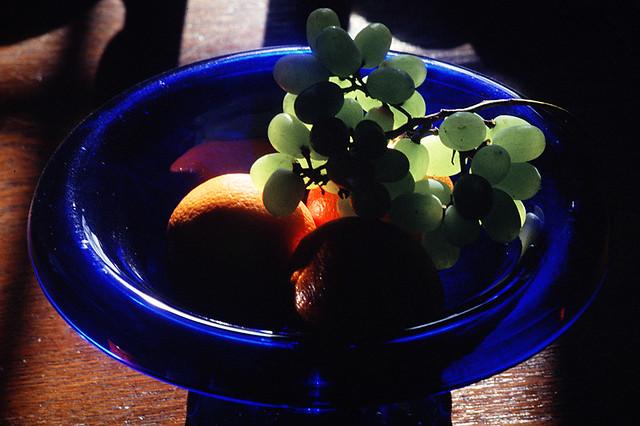 Blue fruit bowl
