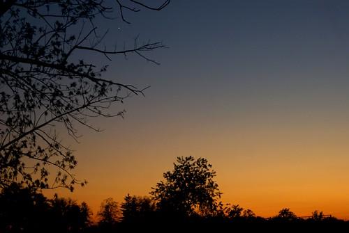 blue autumn sunset ohio sky orange tree fall star evening backyard october dusk sony wish alpha a230 firststar fairfieldcounty 2013 ruralohio stoutsville ohiofoothills