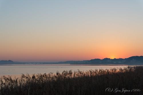 bridge sky sun japan sunrise landscape twilight chiba 日本 太陽 空 風景 2014 千葉県 日の出 teganuma 朝日 朝焼け 手賀沼 nikond600 手賀大橋 柏市