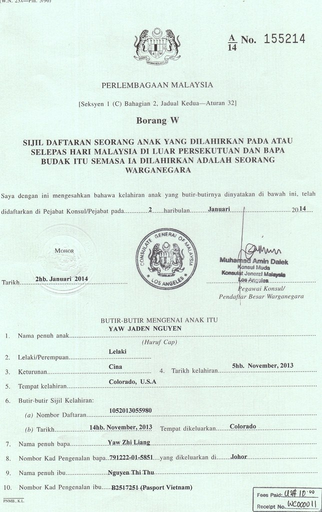 Jaden Borang W Malaysia Birth Certificate Zlyaw Flickr