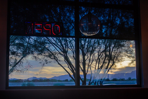 sunset arizona mountain tree window sign sushi restaurant evening twilight neon open silhouettes az dim hdr outthewindow whitetanks fadinglight photomatix whitetankmountains tonemapped