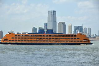 Manhattan Island bound Staten Island Ferry passing Governors ...