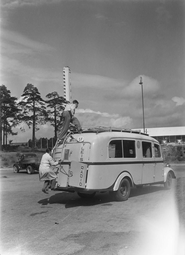 Broadcast van outside the Olympic Stadium in Helsinki, ca. 1937.