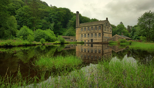 uk trees summer england west reflection building tree green english mill wet water grass clouds canon woodland reflections landscape evening countryside pond woods view cloudy britain yorkshire united great july sigma kingdom historic reflect national rainy valley trust british nationaltrust gibson hardcastle westyorkshire crag hardcastlecrags gibsonmill 450d