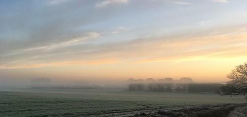 misty landscape clandon sunrise iphone