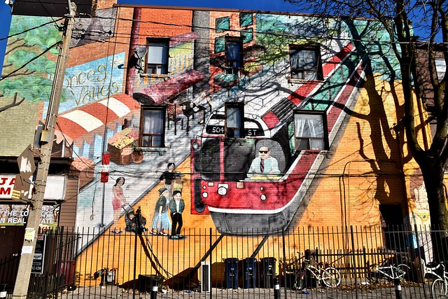 Murals on Wright Ave and Roncesvalles Ave, Toronto, ON