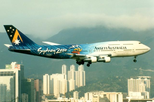 Ansett Australia | Boeing 747-300 | VH-INJ | Sydney 2000 livery | Hong Kong Kai Tak