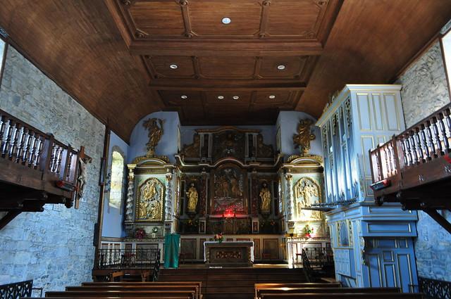 Nef de l'église St Jean-Baptiste, Irissary, Basse-Navarre, Pays basque, Pyrénées Atlantiques, Aquitaine, France.