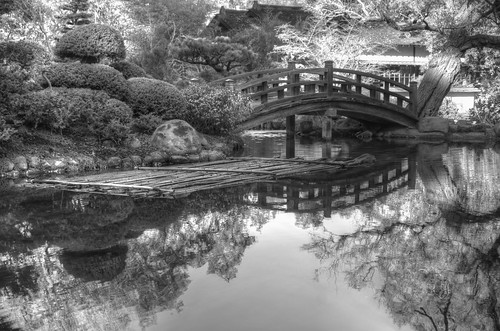 hakonegardens japanesegarden garden reflection pond bridge woodbridge japanesebridge traditional hdr 3xp raw nex6 selp1650 photomatix fav50 siliconvalley sanfranciscobay