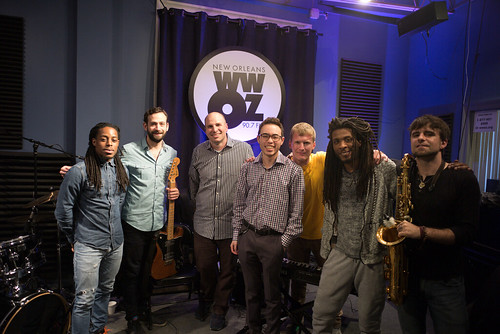 WWOZ's Scott Borne with Noah Young Band. Photo by Ken Maldonado.