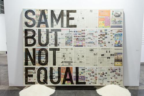 Mixed media installation by Rirkrit Tiravanija (b. 1961): Untitled (same but not equal), 2013 (Newspaper on Linen, Rice) / 沪申画廊 Shanghai Gallery of Art / Art Basel Hong Kong 2013 / SML.20130523.6D.14129 | by See-ming Lee (SML)