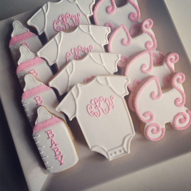 Simple Sweet Baby Girl Shower Cookies Cookiecouture Bab Flickr