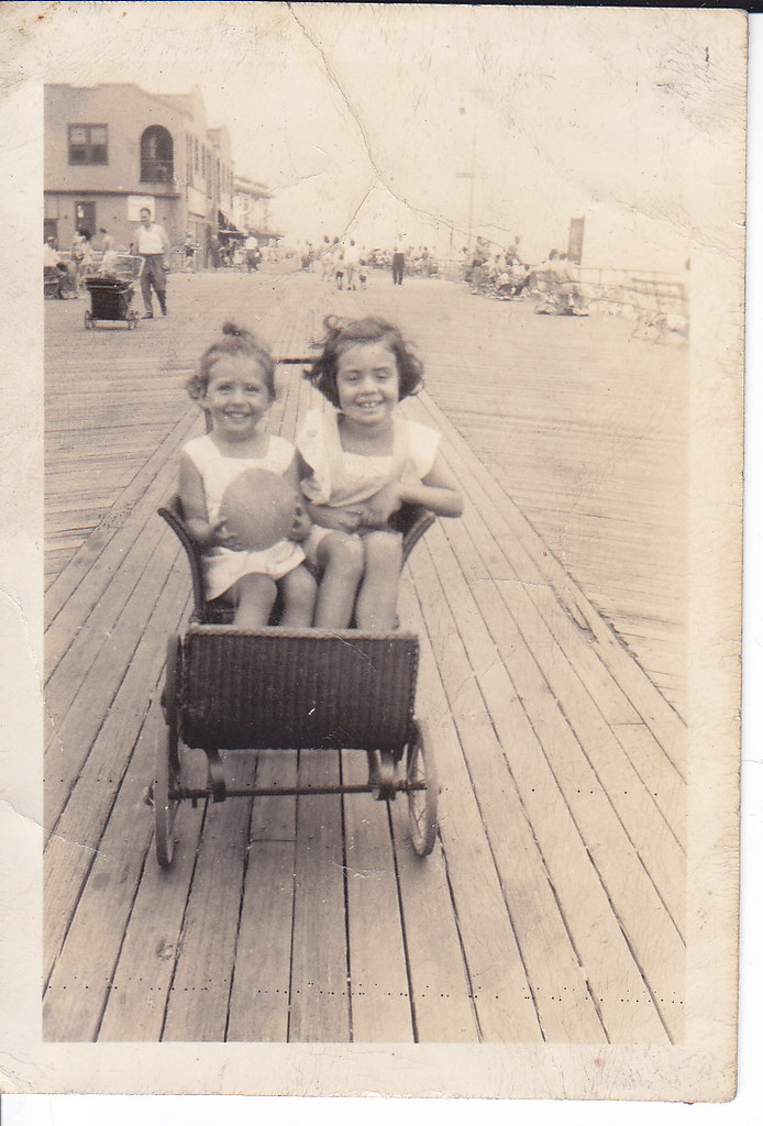 Beer Family (Bernice and Carol) at Rockaway Beach (c1945)