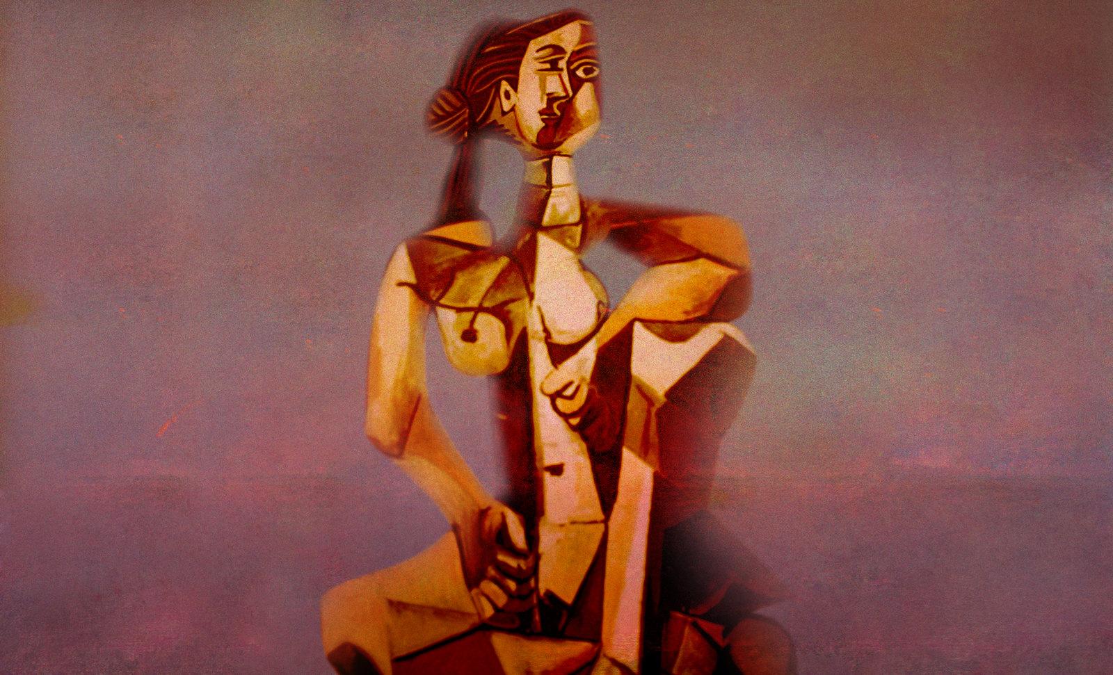 Mujer Sentada, geometrización de Pablo Picasso (1953), abstracción de Roberto Real de León (2013).