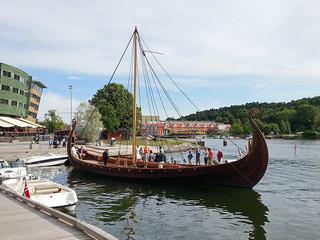 Hand-built viking ship