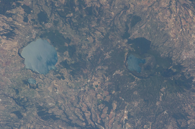 Caldera Lakes Near Rome (NASA, International Space Station, 09/03/13)