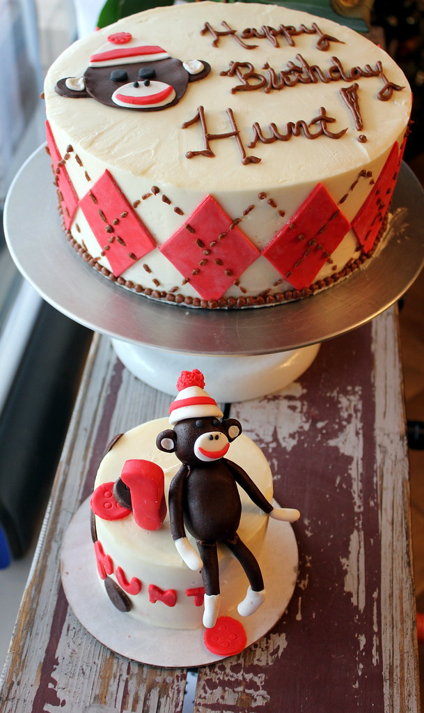 Sensational Sock Monkey Birthday Cake The Prickly Poppy Bakery Flickr Birthday Cards Printable Giouspongecafe Filternl