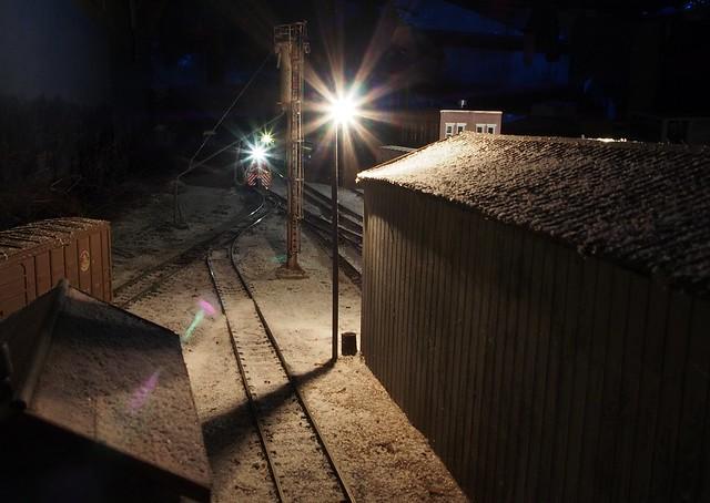 The yard at night