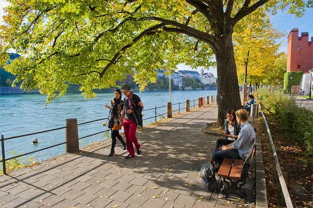 Walking together near the Rhein River . Basel in Autumn 2013. No.1980.