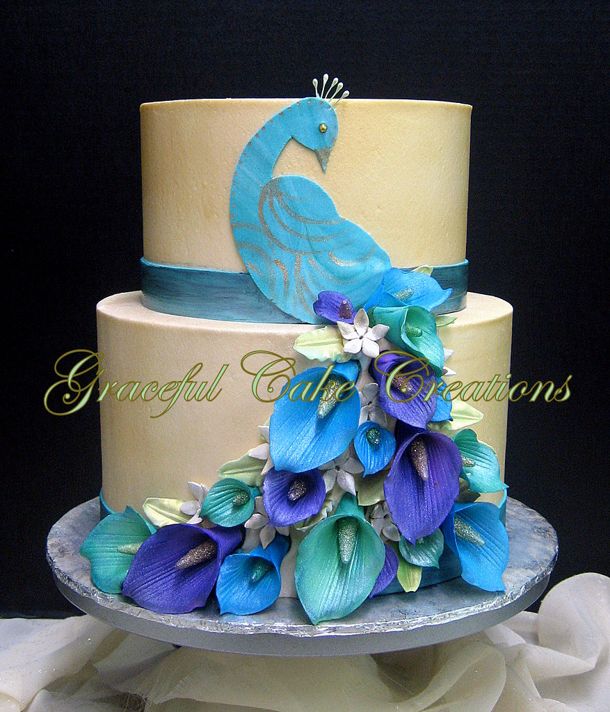 Fantastic Elegant Peacock Themed Birthday Cake Grace Tari Flickr Personalised Birthday Cards Veneteletsinfo