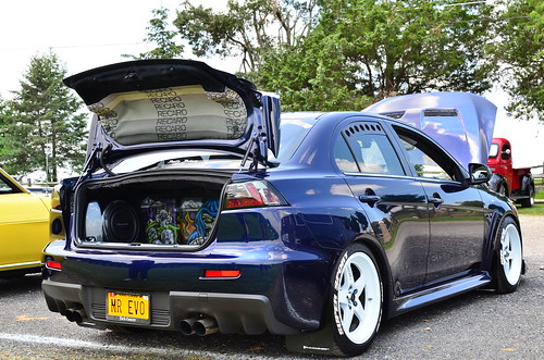 Rear View of a Modded 2013 Mitsubishi Lancer Evolution Photo