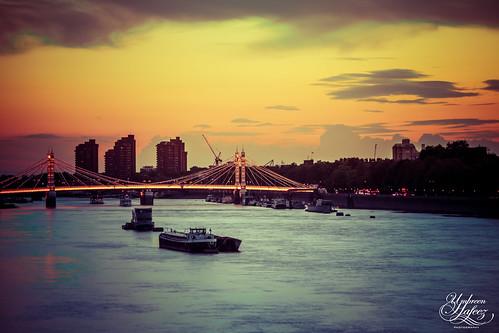 city uk bridge light sunset england color colour building london water silhouette thames architecture clouds buildings river dark boats boat europe long exposure chelsea cityscape albert low gb