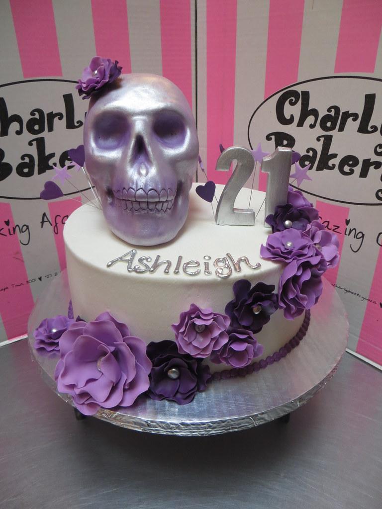 Phenomenal Skull Roses Themed 21St Birthday Cake In Shades Of Purpl Flickr Funny Birthday Cards Online Eattedamsfinfo