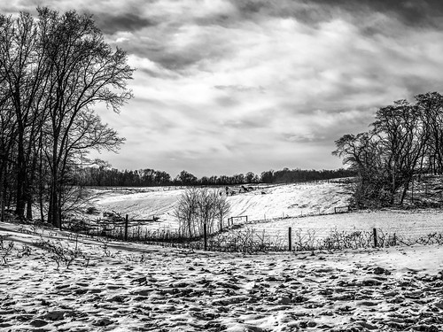 indiana winter bw farm rural snow
