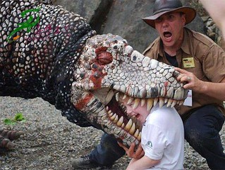 dinosaur costume play with people