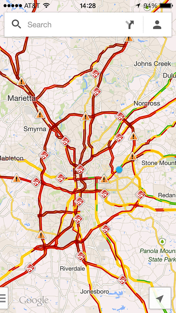Atlanta Traffic, from Google Maps, snow storm, January 28 ... on social media traffic, google map pin, mobile traffic, apple maps traffic, google search traffic, ted williams tunnel traffic, skype traffic, map directions with traffic, sms traffic, google map color key, blog traffic, google navigation traffic, nokia maps traffic, maps and traffic, maps driving directions traffic, google mspd, google map hong kong, web traffic, google live traffic,